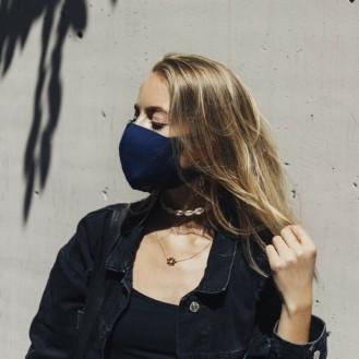 3 Stück Sehr leichte Gesichtsmaske Mund-Nasen Maske Elastisch Neoprenstoff Blau