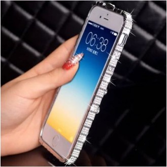 Luxus Aluminium Silber Bling Bumper Strass iPhone 6+ 5,5""