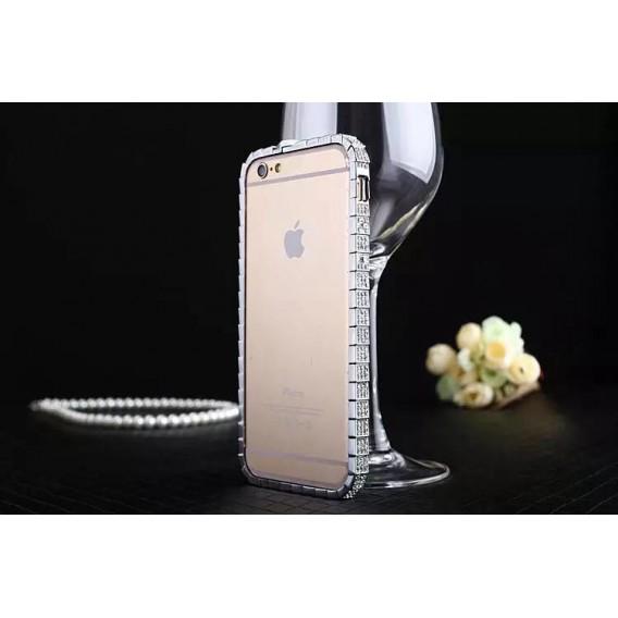 """Luxus Aluminium Silber Bling Bumper Strass iPhone 6+ 5,5"""""""