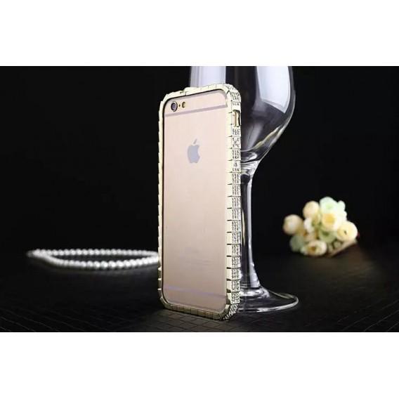 "Luxus Aluminium Gold Bling Bumper Strass iPhone 6+ 5,5"""