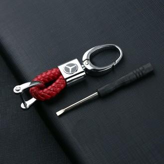 Mercedes Schlüsselanhänger Leder-Rot (Auf Wunsch mit Gravur)