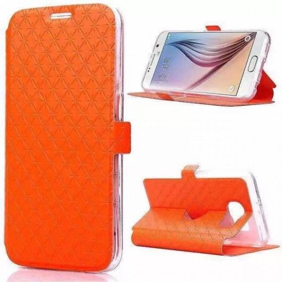 Orange Leder Kreditkarte Etui Samsung Galaxy S6