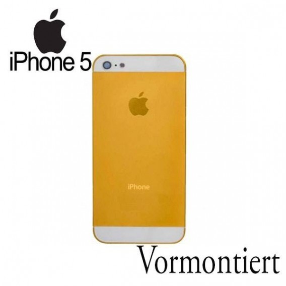 iPhone 5 Alu Backcover Rückseite Gold Weiss