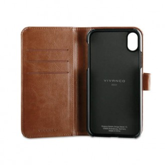 Book Case Wallet Tasche für Apple iPhone Xr, Braun