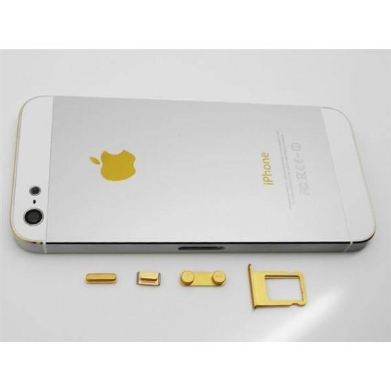 iPhone 5 Alu Backcover Rückseite Weiss Gold (ohne vorm)
