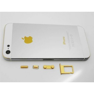 iPhone 5 Alu Backcover Rückseite Weiss Gold (ohne vorm)
