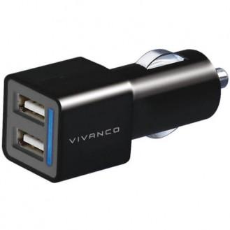 Vivanco Doppel Auto-USB-Ladegerät XL, 2x2, 1A, unversal, schwarz