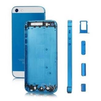 iPhone 5 Alu Backcover Rückseite Blau Weiss (ohne vorm) A1428, A1429, A1442