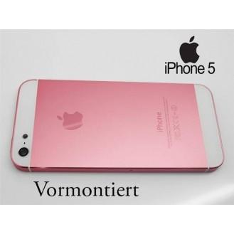 iPhone 5 Alu Backcover Rückseite Rosa Weiss A1428, A1429, A1442