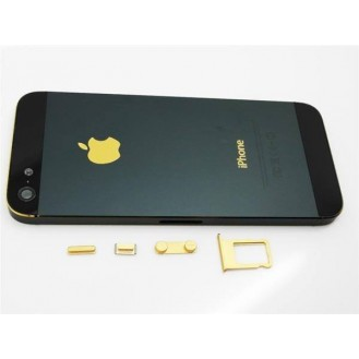 iPhone 5 Alu Backcover Rückseite Schwarz Gold A1428, A1429, A1442
