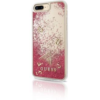 Guess GUHCP7LGLUFLRA Hart Schutzhülle für Apple iPhone 7 Plus, 8 Plus, glitzer/rasberry