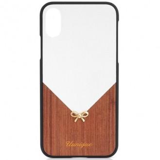 Uunique - iPhone Xs / X Schutzhülle aus Leder und Holz (UUIP8FSH001) - Weiss / Braun