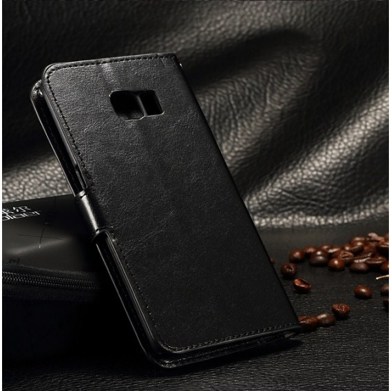 Leder Schwarz Kreditkarte Etui Bookcase Samsung Galaxy S6 Edge