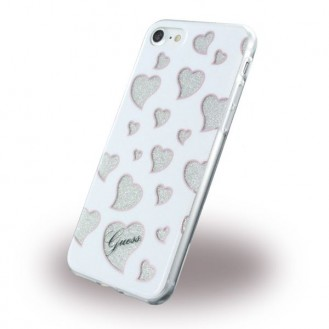 GUESS COVER iPhone SE 2020, iphone 7, 8 Silikon - Hearts - GUHCP7GLHWH - weiss