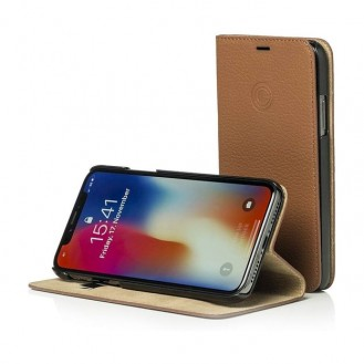 Mike Galeli - iPhone Xs / X Echtleder Book Case Tasche Flip Cover (MARCIPX-M04) - Braun