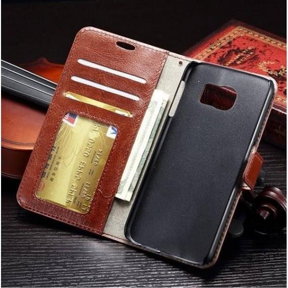 Leder Weiss Kreditkarte Etui Samsung Galaxy S6 Edge