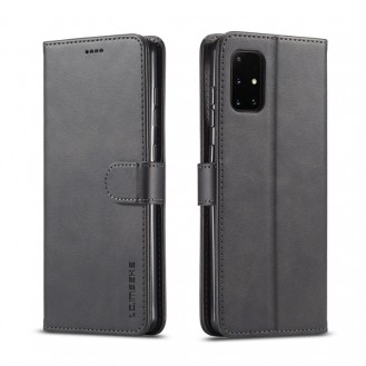 Leder Kreditkarte Etui Wallet Case für Samsung Galaxy A41 Schwarz