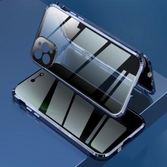 360 Grad Magnet Case Für iPhone 12 Pro Hülle mit Kameraschutz Blau