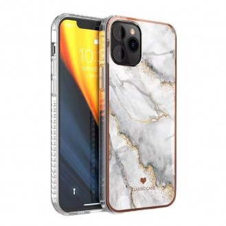 iPhone 12 und 12 Pro TPU Silikon Hülle Marmor Weiss