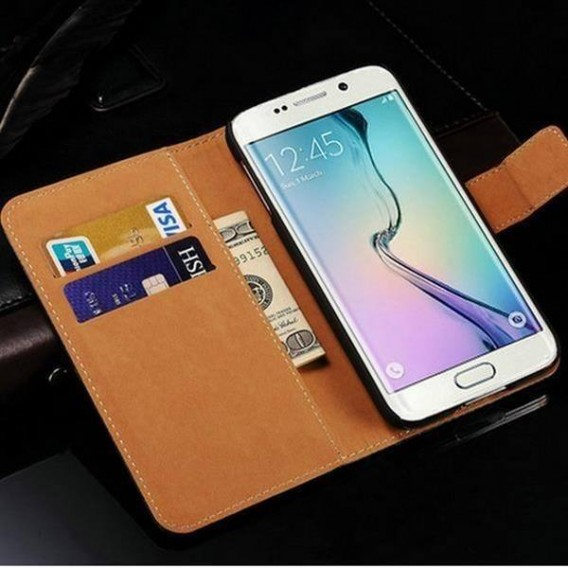 Schwarz Leder Kreditkarte Etui Samsung Galaxy S6 Edge