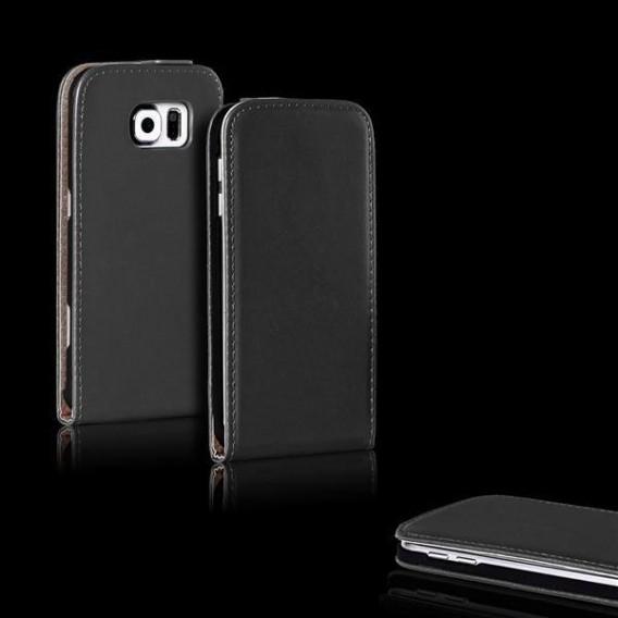 Schwarz Flip Leder Etui Tasche Samsung Galaxy S6