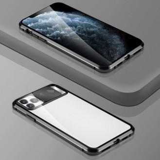 360 Grad Magnet Case Für iPhone 12 Pro Max Hülle mit Schiebeobjektivabdeckung Kameraschutz  Schwarz