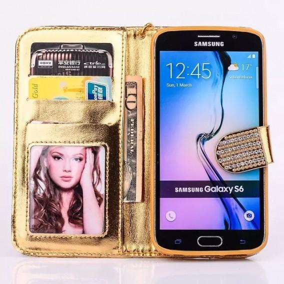 Bling Gold Leder Kreditkarte Etui Samsung Galaxy S6