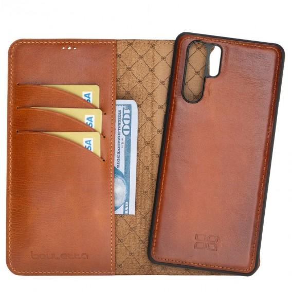 Bouletta Magnetische abnehmbare Handyhülle aus Leder mit RFID-Blocker für Huawei P30 Pro Rustic Tan With Effect