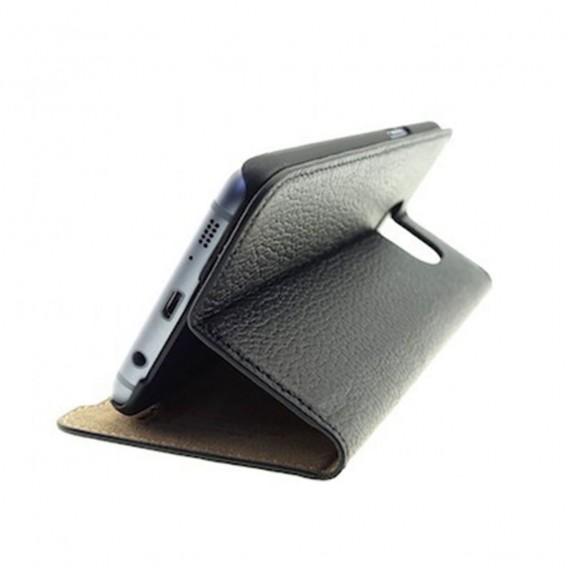 Mike Galeli - Samsung Galaxy S7 Edge Echtleder Book Case Tasche Flip Cover Hand Made (MARCS7P-01) - Schwarz