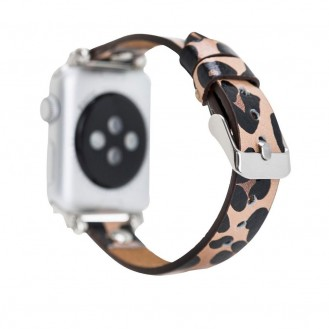 Bouletta Leder Trokya Silber Uhrenarmband für Apple Watch 42mm / 44mm - Leopar