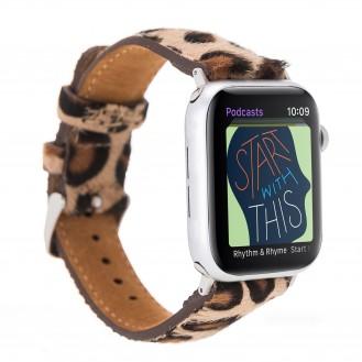 Bouletta Leder Watch Band für Apple Watch 42-44 mm Leopar Hairy
