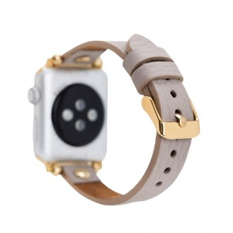 Bouletta Leder Trokya Gold Uhrenarmband für Apple Watch 42mm / 44mm - Floater Nerz