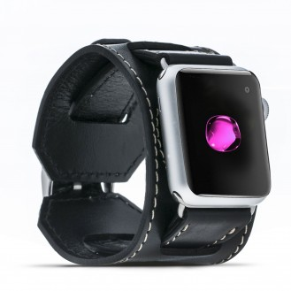 Bouletta Lederarmband für Apple Watch  42mm / 44 mm - Rustikal Schwarz