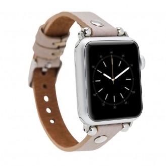 Bouletta Leder Trokya Silber Uhrenarmband für Apple Watch 38mm / 40mm - Floater Nerz