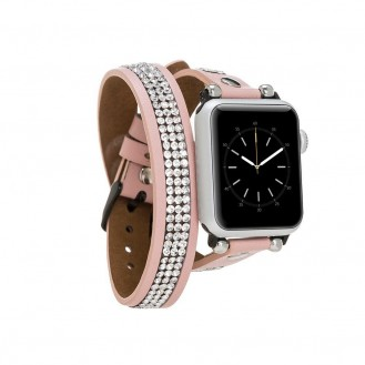 Bouletta Double Tour Lederarmband mit Kristall für Applewatch 42mm / 44 mm - Nackt Pink
