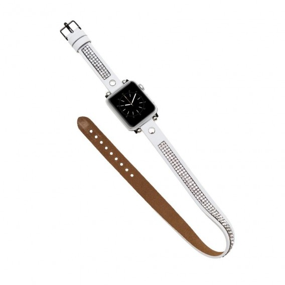 Bouletta Double Tour Leather Watch Strap with Crystal for Apple Watch 42mm / 44 mm - Nude Pink