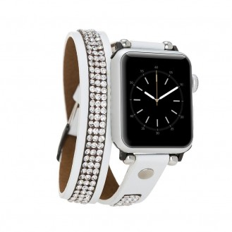 More about Bouletta Double Tour Leather Watch Strap with Crystal for Apple Watch 42mm / 44 mm - Fiesta White