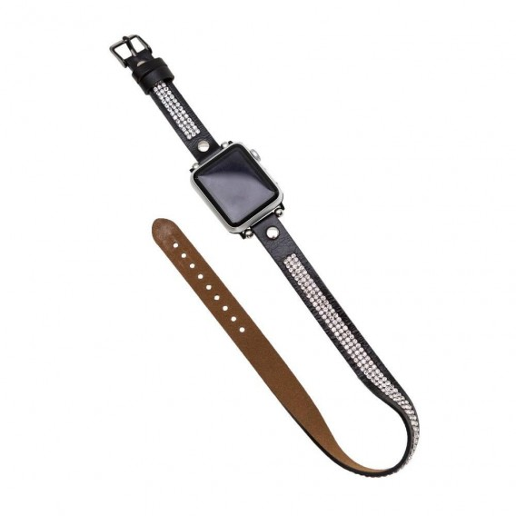 Bouletta Double Tour Leather Watch Strap with Crystal for Apple Watch 38mm / 40 mm - Rustic Black