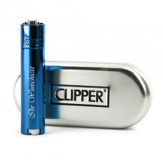 Clipper Feuerzeug - Deep Blue Metal (Auf Wunsch mit Gravur)
