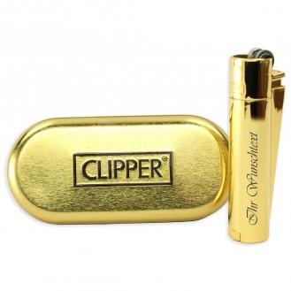 Clipper Feuerzeug - Gold Metal (Auf Wunsch mit Gravur)