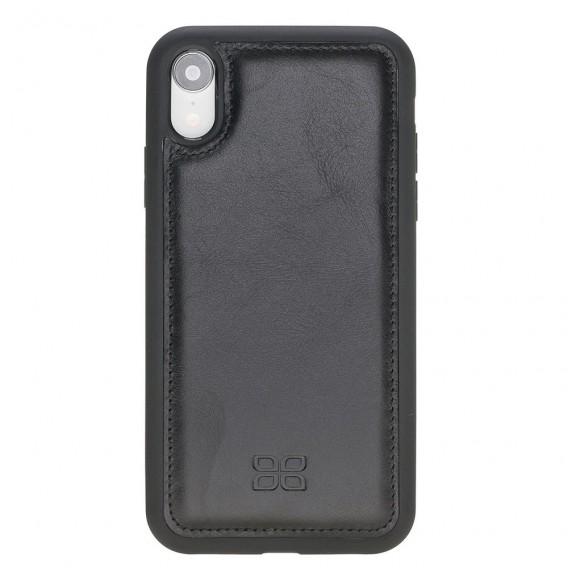 Bouletta Flex Cover Back Leder Case für iPhone XR Rustikal Schwarz