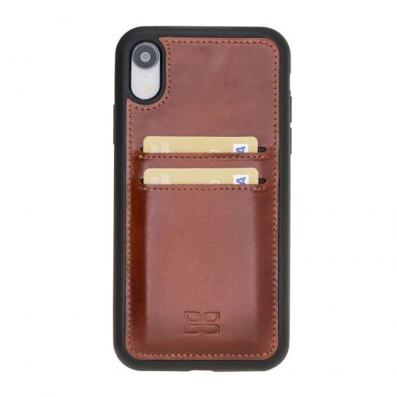 Bouletta Flex Cover mit Kartenfach Back Leder Case für iPhone XR Braun
