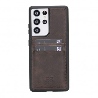 BOULETTA FLEX COVER BACK LEDER CASE MIT KARTENFACH FÜR SAMSUNG GALAXY S21 ULTRA - Dark Brown