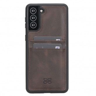 BOULETTA FLEX COVER BACK LEDER CASE MIT KARTENFACH FÜR SAMSUNG GALAXY S21 PLUS - Dark Brown