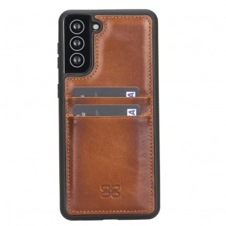 BOULETTA FLEX COVER BACK LEDER CASE MIT KARTENFACH FÜR SAMSUNG GALAXY S21 PLUS- Tan