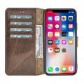 Bouletta Wallet Folio Ledertasche mit ID - Schlitz für Apple iPhone XS MAX - Vegetal dunkelbraun