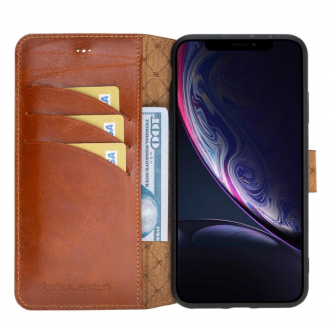 Bouletta Wallet Folio Leder Case für Apple iPhone XS Max - Rustic Tan mit Effect