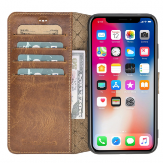Bouletta Wallet Folio Ledertasche mit ID - Schlitz für Apple iPhone XS MAX - Vegetal Braun