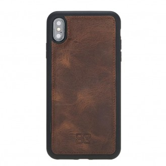 Bouletta Flex Cover Back Leder Case für iPhone XS Max Antic Braun