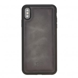 Bouletta Flex Cover Back Leder Case für iPhone XS Max Tiguan Grey with Effect